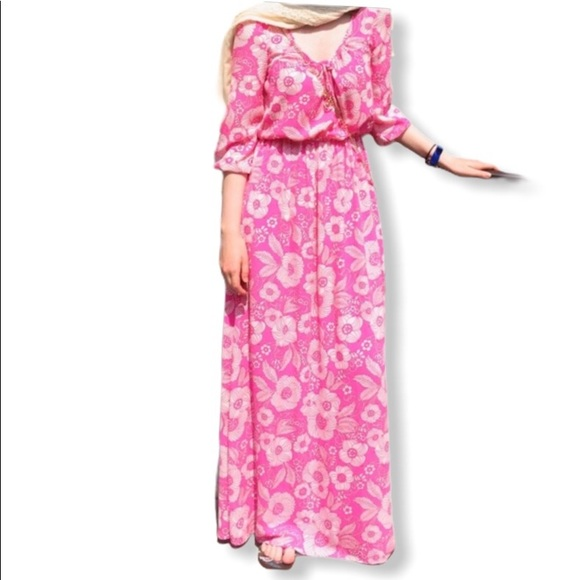 Juicy Couture Dresses & Skirts - JUICY COUTURE LONG PINK FLORAL MAXI DRESS